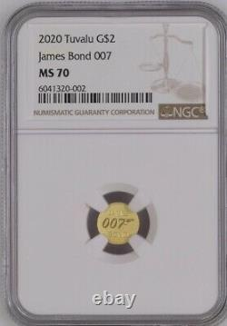 007 JAMES BOND 2020 TUVALU 0.5g GOLD COIN NGC MS 70