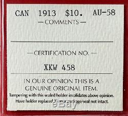 1913 Canada Gold $10 Dollar Coin ICCS AU-58