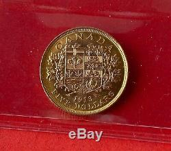 1913 Canada Gold $5 Dollar Coin ICCS MS-62