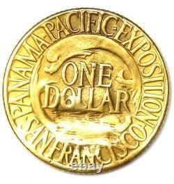1915-S Panama Pacific Gold Dollar Pan-Pac G$1 Coin AU Details (Damage)