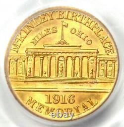 1916 McKinley Commemorative Gold Dollar Coin G$1 Certified PCGS MS64 (UNC BU)