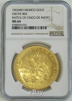 1962 Gold Mexico 50 Pesos Cinco De Mayo Commemorative Coin Ngc Mint State 64