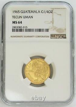 1965 Gold Guatemala Tecun Uman 1/4 Oz Commemorative Ngc Mint State 64