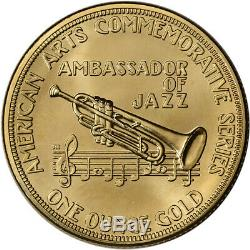 1982 US Gold (1 oz) American Commemorative Arts Medal Louis Armstrong BU