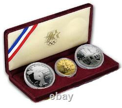 1983 / 1984 US Mint 3 Coin Olympic Silver $10 Gold Commemorative Proof Set withCOA