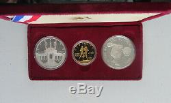 1984 Los Angeles Olympic 1/2 oz $10 Gold 2 Silver Dollar Commemorative Coin Set
