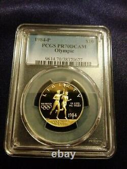 1984 P US Olympics $10 Gold Coin PCGS PR 70 DCAM low pop 46