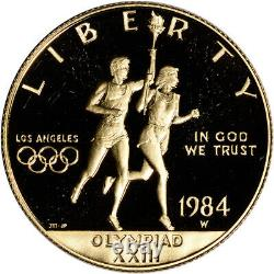 1984-W US Gold $10 Olympic Commemorative Proof Coin in Capsule