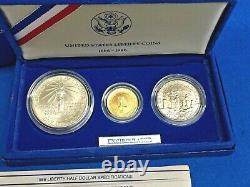 1986 Statue Of Liberty 3 Coin Gold + Silver BU Set withBox + COA Mint