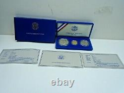1986 Statue Of Liberty 3 Coin Set $5 Gold West Point, $1 Silver, 50c Proof & COA