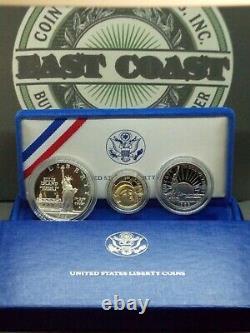 1986 Statue of Liberty Commemorative Proof Set (3 Coin) Silver & Gold ECC&C, Inc