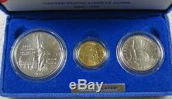 1986 US Mint Statue of Liberty Gold Silver 3-Coin Commemorative Set NICE