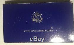 1986 United States Liberty 3-coin set, $5 gold, $1 silver, half OGP and COA