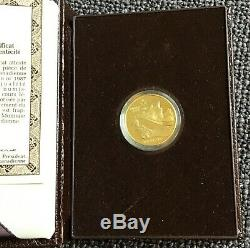 1987 Canada $100 Dollars Gold Coin Calgary Winter Olympics, 1/4 troy oz. In case