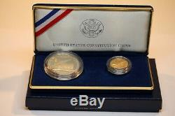 1987 US Constitution Coins Silver & Five Dollar $5 Gold Coin Set with Box & COA