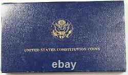 1987 US Mint Constitution 2 Coin Gold & Silver Commem Proof Set as Issued AMT
