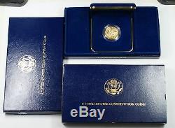 1987 U. S. Mint Constitution $5 Gold BU Commemorative Coin Box & COA OGP