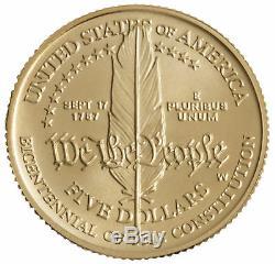 1987-W Constitution $5 UNC Gold Commemorative
