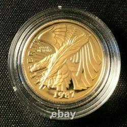 1987-W Gold Coin 1/4 oz $5 Constitution Bicentennial Commemorative Coin BU