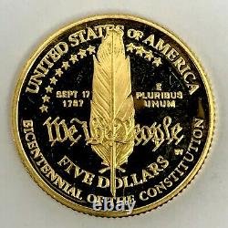 1987-W US Gold $5 Constitution Commemorative Proof Coin