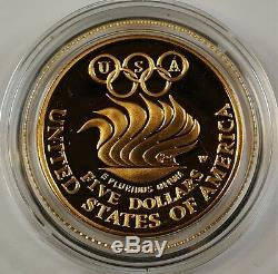 1988 Proof & UNC Olympic Commem 4 Coin Gold & Silver Set with Box, Case and COA