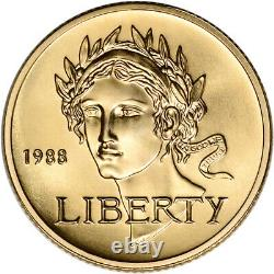 1988-W US Gold $5 Olympic Commemorative BU Coin in Capsule
