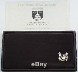1989 US Mint Congressional Commem 3 Coin Silver & Gold Proof Set as Issued DGH