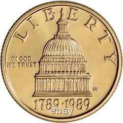 1989-W US Gold $5 Congressional Commemorative BU Coin in Capsule