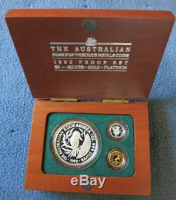 1990 Australia Outback Perth Mint $5 Gold Silver Platinum 3-Coin Proof Set