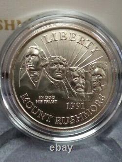 1991 $5 Gold, $1 Silver + Half Dollar Mount Rushmore 3 Coin Set Uncirculated Box