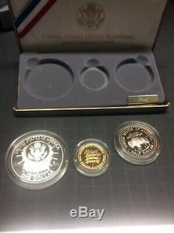 1991 US Mint Mount Rushmore Commemorative 3 Coin Silver & Gold Proof Set