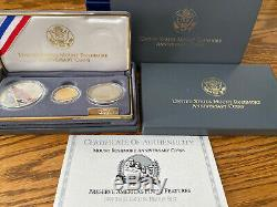 1991 United States Us Mount Rushmore 3 Coin Anniversary Uncirculated Set