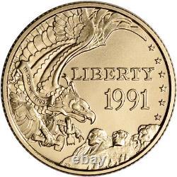 1991-W US Gold $5 Mount Rushmore Commemorative BU Coin in Capsule