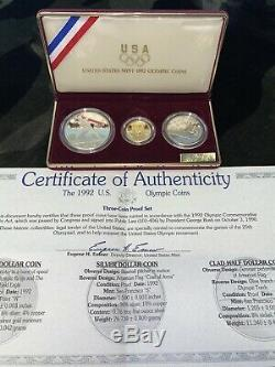 1992 US Olympic 3-Coin Gold Runner Silver Clad Commemorative Proof Set