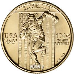 1992-W US Gold $5 Olympic Commemorative BU Coin in Capsule