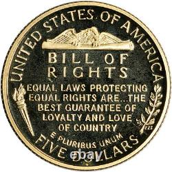 1993-W US Gold $5 Bill of Rights Commemorative Proof Coin in Capsule