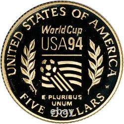 1994-W US Gold $5 World Cup Commemorative Proof Coin in Capsule