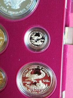1995 W American Eagle 10th Anniversay 5 Coin Gold Silver Set Proof Box and COA