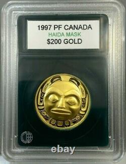 1997 1/2oz Canada $200 Raven Haida Mask Proof Gold Coin
