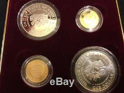 1997 Jackie Robinson 4 coin set $5 Gold $1 Silver Proof & Unc-US Mint box/papers