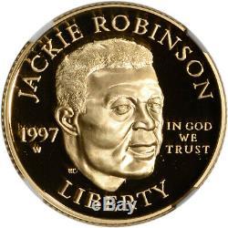 1997-W US Gold $5 Jackie Robinson Commemorative Proof NGC PF70 UCAM