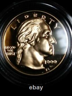 1999 W 2 Gold $5 Coin George Washington Set Proof & Uncirculated In Box