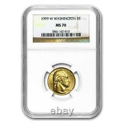 1999-W GEORGE WASHINGTON $5 Gold Commemorative Coin NGC MS70 Eagle on Reverse