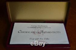 1999 W Gold $5 Commemorative George Washington Proof withBox & COA