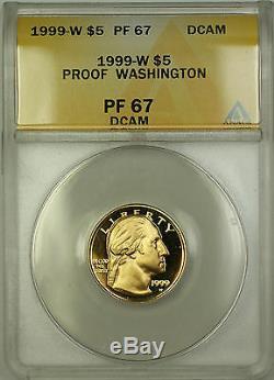 1999-W Proof Washington Commemorative $5 Gold Coin ANACS PF-67 DCAM