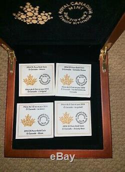 1/10 oz Fine Gold Coins O Canada 4-Coin Set Mintage 4000 (2014)