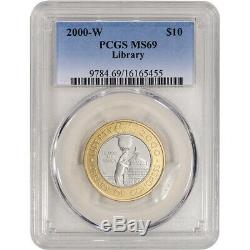 2000-W US Bimetallic $10 Library of Congress Commemorative BU PCGS MS69