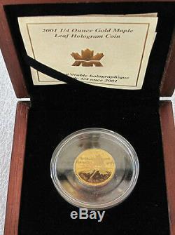 2001 Canada $10 Dollars 9999 Gold Coin, Hologram Maple Leaf 1/4 Oz Rare