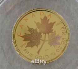 2001 Canada $10 Dollars 9999 Gold Coin, Hologram Maple Leaf 1/4 Oz Rare
