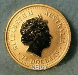 2001 Perth Mint Australia $15 1/10 Oz Gold Lunar Year Of The Snake BU Coin #4241